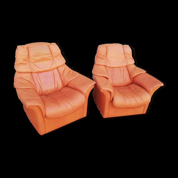 Paire de fauteuils cuir Ekornes