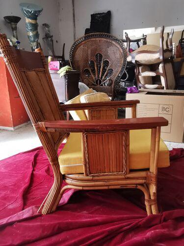 Ensemble canapé et fauteuil rotin et cannage