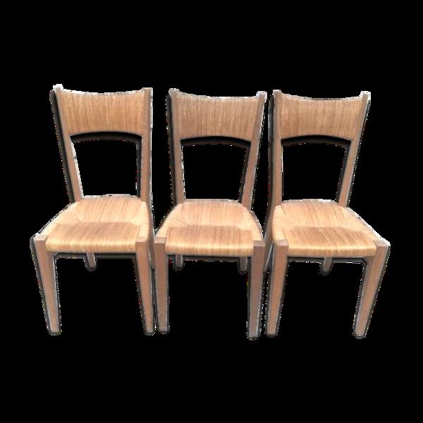 Trio chaises vintage paillées et bois