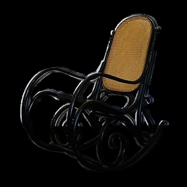Rocking chair noir en bois assise cannage 1960