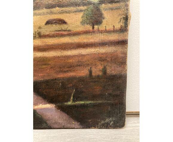 Huile sur toile cartonnée vintage