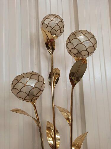 Lampadaire trio floral fleurs laiton et nacre de Capiz