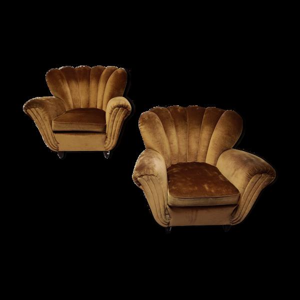 Selency Paire de fauteuils italiens en velours mordoré