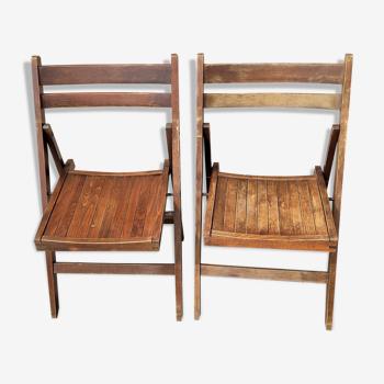 Paire de chaises pliantes vintage en bois (possibilité de 2 lots supplémentaires)