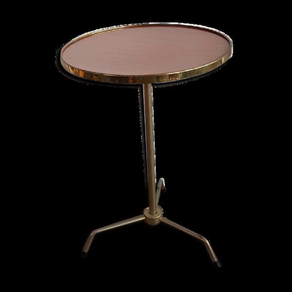 Table tripode en formica et métal doré années 50 60