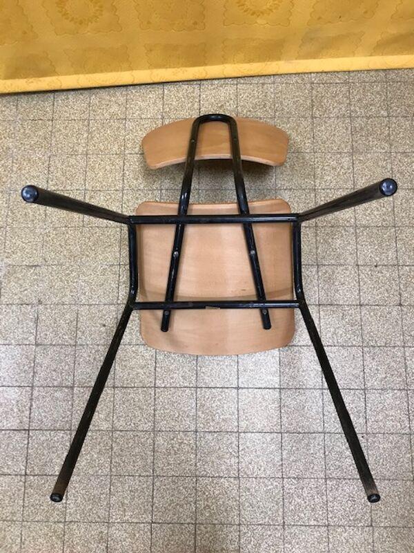 Chaise d'ecole tube et bois Stella