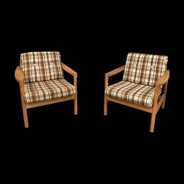 Selency Paire de fauteuils scandinave tissu carreaux