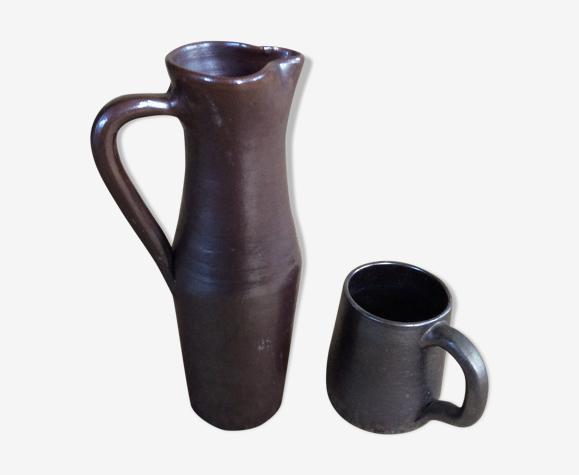 Set pichet et mug en grès