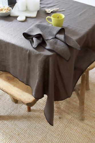 Lot de 4 serviettes marron en lin upcyclé