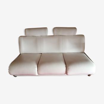Canapé-lit design 70's skaï et chrome