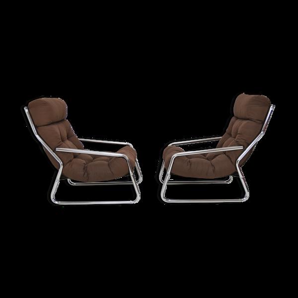 Selency Paire de fauteuils chrome années 1970