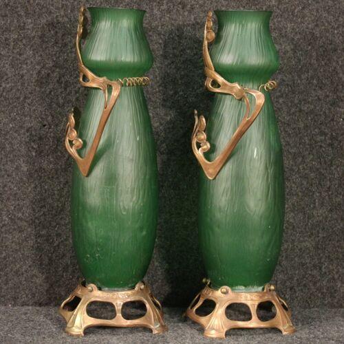 Paire de vases en verre français dans le style art nouveau