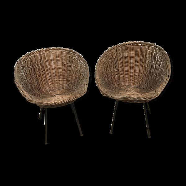 Selency Paire de fauteuils en rotin vintage
