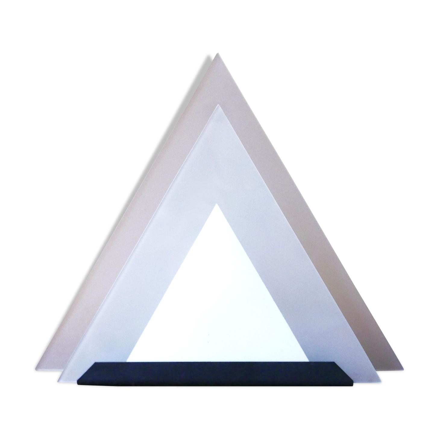 Lampe pyramide en verre années 80