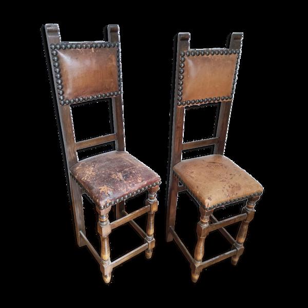 Selency Paire de chaises étroites début XXe