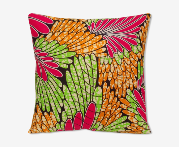Coussin carré wax africain-plumes