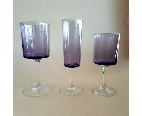 15 verres à pied vintage Luminarc couleur violet parme (eau, vin, champagne)