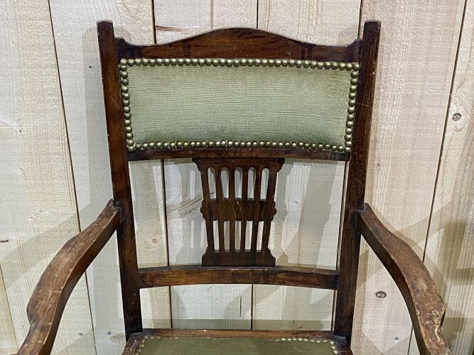 Paire de fauteuils anglais en hêtre des années 1930