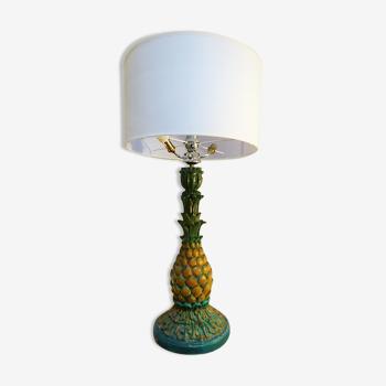 Lampe ananas en bois polychrome, 1940