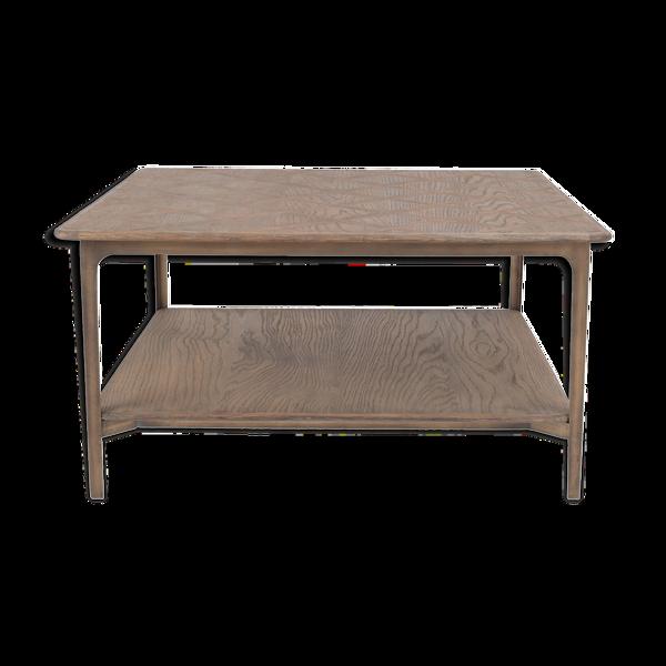Table basse avec plaquage chêne et métal Versailles
