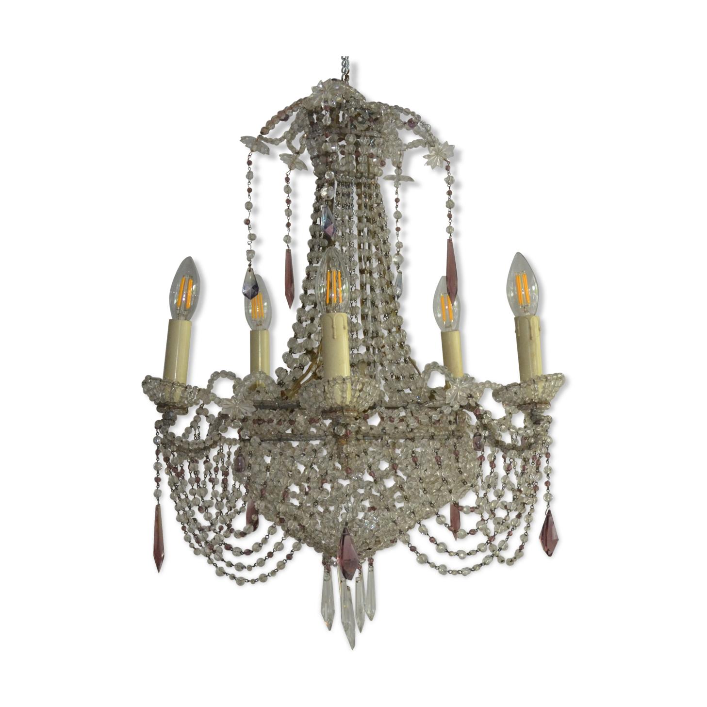 Lustre montgolfière cristal XIX eme siècle