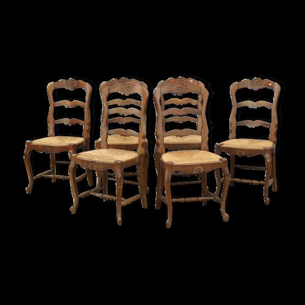 Série de 6 chaises paillées