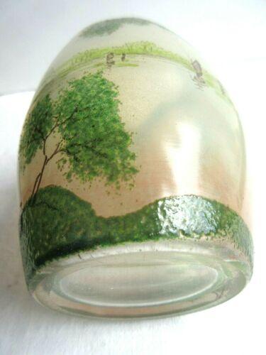"""Vase ovoïde """"oeuf cassé"""" verre émaillé paysage lacustre avec de grands arbres: legras"""