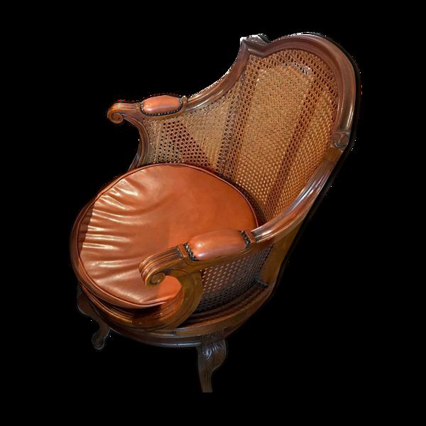 chaise en cannage et cuir