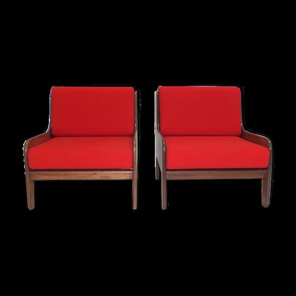 Selency Ensemble de 2 fauteuils en bois de rose par Marco Zanuso pour Arflex Italie 1964
