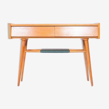 Hall vintage en bois ou table console avec miroir des années 1960