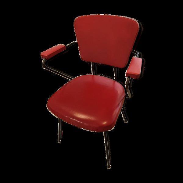 Fauteuil années 60 skaÏ rouge