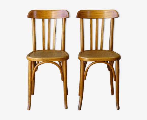 Lot de 2 chaises Fischel bistrot 1935 assise étoile