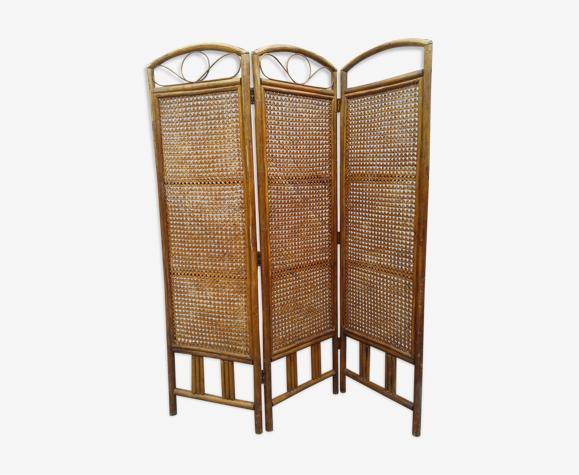Paravent bambou osier rétro 1960
