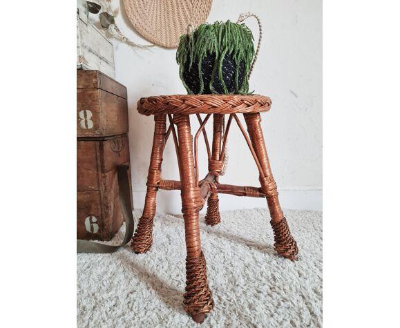 Table d'appoint en osier tressé vintage