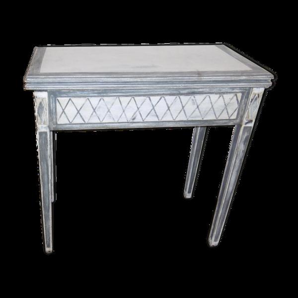 Table de jeu style Louis XVI console patinee gris et blanc