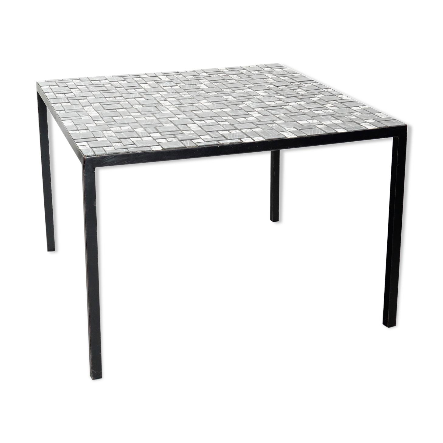 Bout de canapé en mosaïque noir et blanc vintage