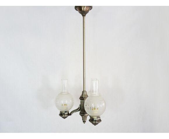 Ancien lustre style Art Déco à 3 branches en étain et globe en verre 50/60