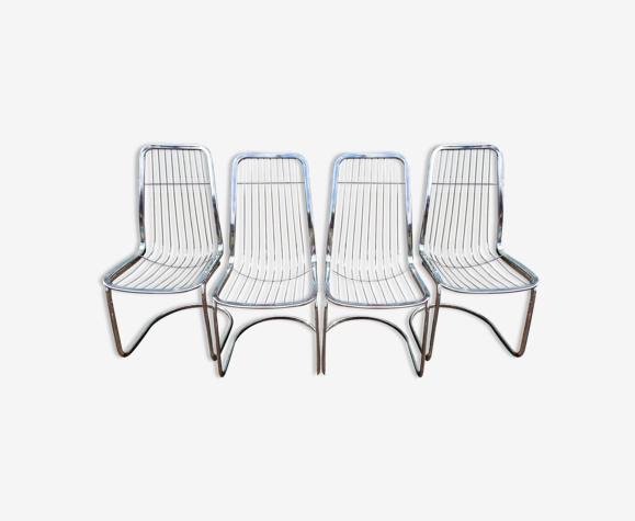 Lot de 4 chaises Gastone Rinaldi chromé