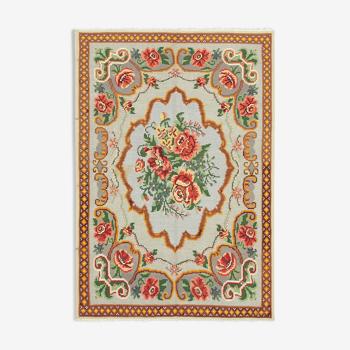 Tapis rose de moldavie kilim 228 x 158 cm