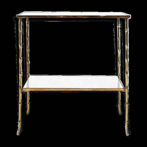 Selency Table basse en bambou en bronze par Maison Bagues Ca.1960