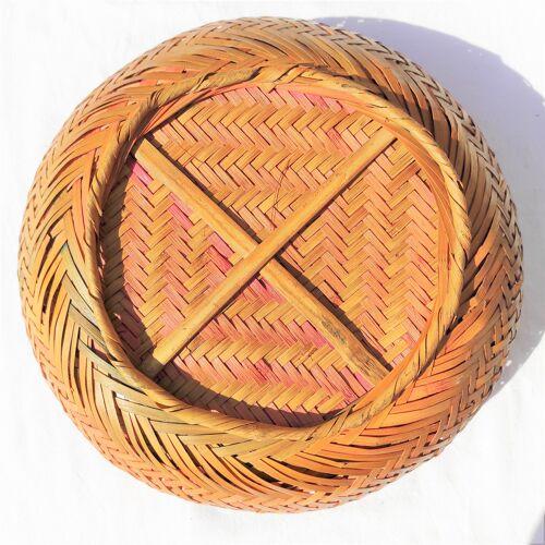 Panier rond tressé mains vintage travail artisanal pour usage divers