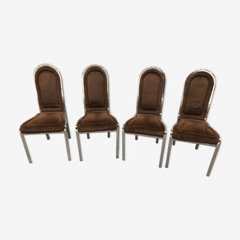 4 chaises chromées design des années 70