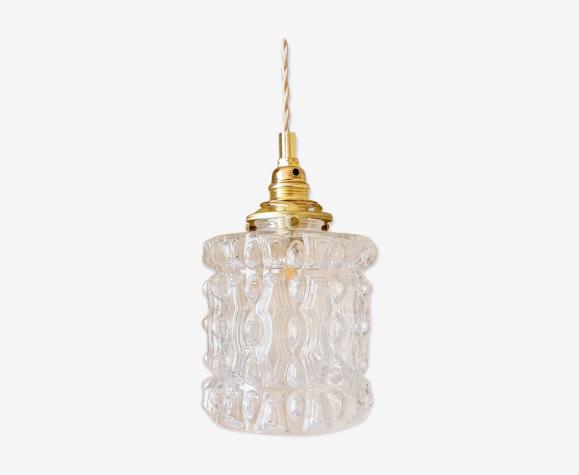 Vintage suspension in transparent molded glass