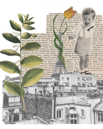 Print collage format a3. sur les toits