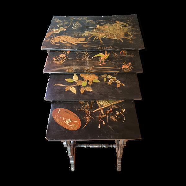 Selency Tables gigognes Napoleon III - décors chinois - 19ème