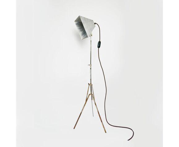 Lampe de photographie vintage de trépied en métal, années 50
