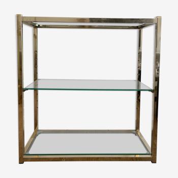Console en verre et métal doré 1980