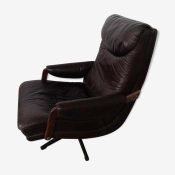 Chaise longue en cuir vintage, inclinable