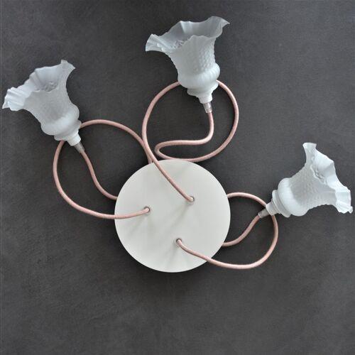 Lustre vintage 3 pendants avec abat-jours tulipe en verre et cordon rose