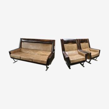Ensemble  lot canapé plus 2 fauteuils skaï années 50